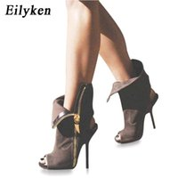 botas abertas venda por atacado-Eilyken Mulheres Sexy Ankle Boots Lapela Dianteira Aberta Estiletes Bombas Peep Toe Ankle Boots Gladiador Sandálias Mulher