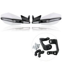 Wholesale led dirt bike lights resale online - 1Pair Motorcycle Handguard Handlebar Hand Protector With LED Light Hand Guard Shield Dirt Bike Motocross Protection