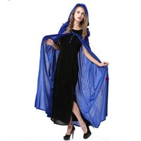 Wholesale fairy cloak resale online - Halloween Party cosplay costume Female Cloak Coat Costume Witch cloak fairy velvet devil drama Ladies Clothes Coat