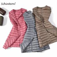 ingrosso giù in basso-Schinteon New Women Ultra Light Down Vest Casual Long Slim Gilet di alta qualità inverno che basa Vest