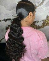18 zoll menschliche haarclipverlängerungen großhandel-Divas Hair 100% reines Menschenhaar lockige Welle Clip in Wrap Around Pferdeschwanzverlängerung für Frauen dunkelbraun (18 Zoll) 120g Pferdeschwanz-Haarteil