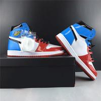 kadın s deri beyaz ayakkabılar toptan satış-Korkusuz Yüksek Basketbol Ayakkabı 1 s Mavi Kırmızı Beyaz Rugan 2019 Tasarımcı Erkek Kadın Yüksek Atletik Spor Sneaker