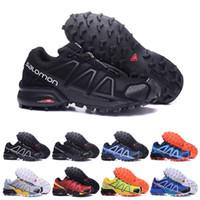 ingrosso scarpe nere per gli uomini-2019 Salomon Speed Cross 4 IV CS nero blu arancio rosso a piedi scarpe traspiranti uomo Atletica Mesh jogging sneaker scarpe sportive eur 40-46