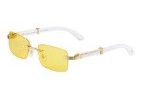 en iyi gözlük tasarımı toptan satış-Süper En çok satan Beyaz Manda Köşe Gözlükleri Marka Tasarımcısı Tasarım erkek Güneş Gözlüğü ve kadın Güneş Gözlüğü Iyi Gözlük