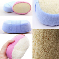 Wholesale luffa shower for sale - Group buy Natural Loofah Shower Exfoliating Sponge Scrubber With Wear Band Luffa Bath Wash Body Brush Sponge Brush