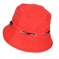 siyah kırmızı güneş şapka toptan satış-JETTING Siyah Kırmızı Bahar Yaz Güneş Şapka Seyahat Kadın Şapka Unisex Erkekler Kadınlar Için erkek Düz Kadın Pamuk Kova