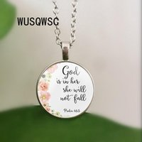 Wholesale necklace religion resale online - Psalms Bible Verses God Is Within Her She Will Not Fall Nursery Verse Necklace Fashion Jewelry Religion Christian Pendant