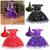 Wholesale kids european hat resale online - Halloween Costume Girls Cosplay Dresses with Witch Hat Clothes stage dance Witch Costume for Girls Kids Children Party Dress FFA2725