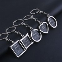 Wholesale photo frame key chains resale online - New Creative Apple Oval Rhombus Shape Metal Alloy Key Chain Car Photo Frames Round Heart Keychains Couples Keyring jx
