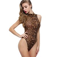 tek parça mayolar brazilian kesim toptan satış-AZULINA Seksi Leopar Baskı Kolsuz Tek Parça Mayo 2018 Yeni Yüksek Kesim Tek Parça Bikini Brezilyalı Mayo Kadınlar One Piece Mayo