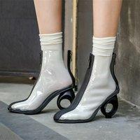 botas calcanhar carretel venda por atacado-2019 nova moda personalidade spool calcanhar botas chiques transparentes couro genuíno tamanho grande tornozelo boot + enviar meias