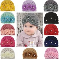 Wholesale crochet hats for children for sale - Group buy Baby Winter Hat Knitted Pearl Flower Newborn Photography Props Hats For Children Warm Boys Girl Cap Kids Hat Baby Fotografie knit cap DHL