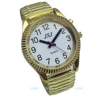 konuşan saatler toptan satış-Alarm Fonksiyonlu İngilizce Konuşan Saat, Altın Renkli, Beyaz Yüzlü, Konuşan Tarih ve Saat