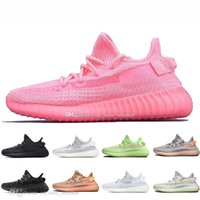 ingrosso scarpe da corsa incandescente-Scarpe da corsa da uomo di alta qualità Kanye West Red Glow V2 GID Glow In The Dark Hyperspace True Form Women Sport Designer Sneakers