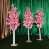 Wholesale gerbera flowers resale online - Imitation Cherry Tree Colorful Artificial Cherry Blossom Tree Roman Column Road Leads Wedding Mall Opened Props Iron Art Flower Doors EEA304