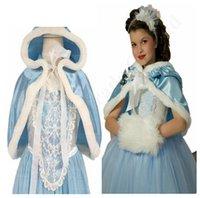 niña niños sombreros al por mayor-Niñas vestidos de nieve Queen con traje de cosplay Cabo niños del sombrero de la princesa vestido largo COS niños vestidos de ropa de fiesta de Navidad C110505