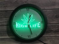 Wholesale neon sign high life resale online - 0A403 Leaf High Life Bar APP RGB LED Neon Light Signs Wall Clock