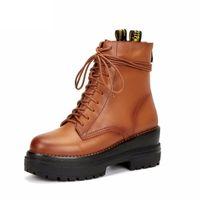 ingrosso punk rock pizzo scarpe-AnkleBoots autunno Winter2018 roccia punk di modo Motorycle vera pelle stivali delle donne Lace Up caldi scarpe da donna