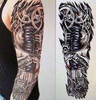 imagen de tatuajes al por mayor-Brazo lleno etiqueta engomada del tatuaje del brazo lleno de tatuajes Gran imagen de la flor del brazo etiqueta engomada del tatuaje impermeable realista colorido al por mayor y verdadero