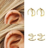 brincos de ouro para cartilagem venda por atacado-3 Pçs / set Simples Algemas Ouvido para As Mulheres Folha de Ouro Orelha Cuff Clipe Brincos Escaladores Earcuff Sem Piercing Cartilagem Falsa Brinco