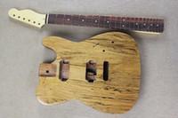 natürliche holzfarbe e-gitarre großhandel-Fabrik Benutzerdefinierte natürliche Holz Farbe Electric Guitar Kit (Teile) mit Palisander Griffbrett, Hals und Körper, Halbzeuge Gitarre, Angebot angepasst