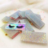 fundo prateado venda por atacado-Limpar Pedrinhas vazio Lash Caso rosa de prata Bling cílios caixa de diamantes caixa quadrada Holographic Cor de fundo sem cílios