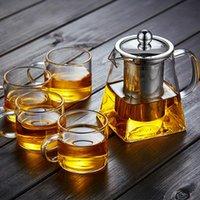 Wholesale heat resistant glass ship resale online - 350ml High temperature Resistance Glass Tea Set Heat resistant Glass Stainless Steel Filtering Teapot Square Flower Teapot with fast ship
