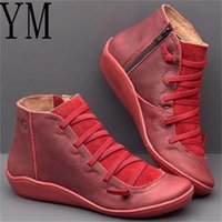 Wholesale big boots females for sale - Group buy Leather Ankle Boots Autumn Vintage Lace Up Women Shoes Comfortable Flat Heel Boots Female Zipper Short Big size