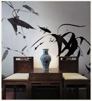 pintura abstrata de bambu venda por atacado-Bacaz 3D / 8d Papel De Parede Papel De Parede De Bambu Abstrato Pintados À Mão Pintura a tinta Papel De Parede adesivo de parede ForSofa Decoração de parede Decoração