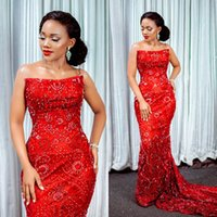 Wholesale gold mermaid strapless resale online - Aso Ebi Arabic Luxurious Sexy Red Evening Dresses Strapless Mermaid Beaded Prom Dresses Vintage Formal Party Second Reception Gowns ZJ5