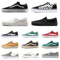 erkekler beyaz düz ayakkabılar toptan satış-Van eski skool korkusu tanrı mens kadınlar tuval minibüsler sneakers eski skool sk8 kaykay ayakkabı üçlü siyah beyaz köpekbalığı düz erkekler rahat ayakkabı boyutu 36-44