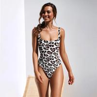 ingrosso modelli di body-2019 New Sexy Bikini Set Leopard Print Costume da bagno Donna Modello di serpente Costume da bagno Swimwear gamba alta Femminile Sexy Tuta Monokini 5 pezzi