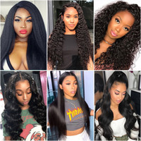 Wholesale 28 human hair lace wigs resale online - 250 Density Body Wave Human Hair Wigs quot Kinky Curly lace front wigs Deep Loose Wave Human Hair Lace Front Wigs Brazilian Hair Straight