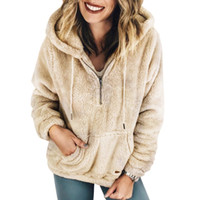 fermuarlı hoodie giyim eşyası hoodies sweatshirt toptan satış-Kadın Uzun Kollu Kapşonlu Polar Kazak Sıcak Bulanık 1/4 Fermuar Kazak Hoodie Sherpa Kabanlar Coat DYH1210