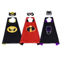 máscaras de superhéroes negros al por mayor-Black Panther Incredibles Wolverine Cape Mask Disfraces de superhéroes de dibujos animados para niños para Halloween Navidad cumpleaños favores de la fiesta