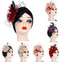 yeni kapaklı kapaklar toptan satış-Yeni Kadın Hint Gerilebilir Kemo Pileli Türban Şapka Başörtüsü Kap Headwrap Yeni Parti Çiçek Net Şapka Vogue Kadınlar Için Parti Şapka Kap