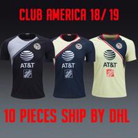 черный клуб америка джерси оптовых-Camisetas de fútbol Liga MX Club America 2018 2019 home yellow away темно-синий GK вратарь черный чемпионат мира 18 19 футбольные майки футбольные рубашки