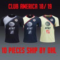 schwarz club america trikot großhandel-Erste Liga Liga MX Club America 2018 2019 Gelb nach Hause weg Marineblau GK Goalie schwarz Weltmeisterschaft 18 19 Trikots Trikots