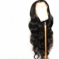 длинный волнистый черный парик оптовых-Высокое Качество Свободной Части Черный Длинные Волнистые Парики Термостойкие Волокна Волос 26in Glueless Синтетические Парики Фронта Шнурка для Женщин Коричневый Кружева Cap