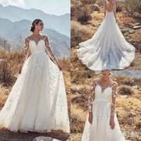 Wholesale applique designs for gowns for sale - Group buy 2019 New Design Long Sleeve Wedding Dresses Lace Appliqued Sheer Neck Bridal Gowns For Beach Gardens Backless Sweep Train Wedding Dress