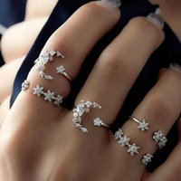 Wholesale adjustable star ring resale online - Fashion set Bohemia Retro Rhinestone Crystal Moon Star Simple Hollow Punk Personality Silver Open Ring Adjustable Ring Hot Sell