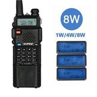 ingrosso walkie 8w-Baofeng UV5R 8W Triple 8/4/1 watt ad alta potenza 10 km lungo Rang radio bidirezionale di VHF UHF Dual Band UV5R portatile Walkie Talkie