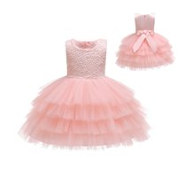 Wholesale dress length year old for sale - Group buy Baby dress Pompey skirt Princess wind Bowknot Lace style One year old dress Babys One Hundred Days Photography Fashion lovely dress