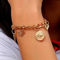 fasion pulseiras venda por atacado-Designer de jóias pulseiras do encanto Do Punk rebite o olho do diabo pulseiras de cor de ouro para as mulheres hot fasion