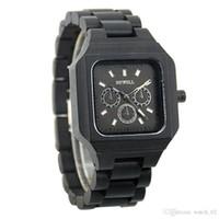 relógios de pulso mais legais venda por atacado-Bewell W001A Relógio De Madeira Novel Legal Preto Relógio De Madeira Dos Homens Dos Homens Elegantes Relógio de Quartzo Relógio De Pulso Casual Relógios