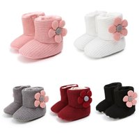 Wholesale cute newborn baby boy shoes resale online - 2019 Autumn Winter Plus Velvet Cute Newborn Baby Boots Sweet Flowers Warm Soft Bottom Toddler Girls Boys First Walkers Shoes hot