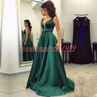 Wholesale evening gown plus size teal for sale - Group buy Modern Deep V Neck Evening Dresses Satin Sleeveless Teal African Party Formal Plus Size Special Occasion Prom Dress Pageant Gowns Cheap