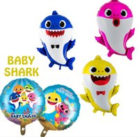 dibujos animados de globos de papel de aluminio al por mayor-Baby Shark Foil Globos de Helio Dibujos Animados Inflables de Aluminio Globo Niños Niños Tema Fiesta de Cumpleaños Suministro Decoración Regalo ToyA52006