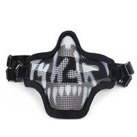 gesichtsmasken für airsoft großhandel-2019 Neue Outdoor Tactical Ghost Mesh Airsoft Maske Emerson Paintball Half Face Schutz Strike Style Jagd Zubehör