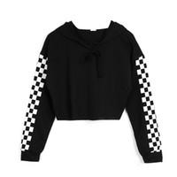 ördek kazak hoodie toptan satış-Kadın Hoodie Kazak Jumper Mahsul en Spor Kazak Ekose Tişörtü 2019 Yüksek Kalite